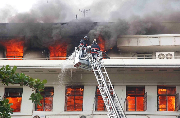 Firefighters douse the blaze at Mantralya, Mumbai