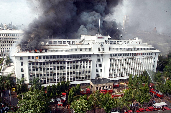 Fire engines try to douse the fire at Mantralaya