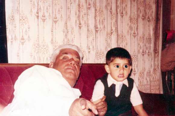 Congress leader ND Tiwari poses with Rohit Shekhar, during his childhood days