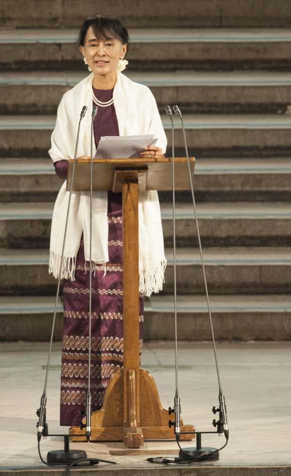 Myanmar pro-democracy leader Aung San Suu Kyi delivers an address to both Houses of Parliament, in Westminster Hall, in the Houses of Parliament, central London
