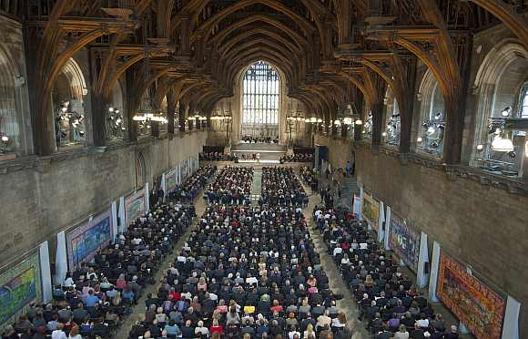 Suu Kyi delivers an address to both Houses of Parliament, in Westminster Hall, in the Houses of Parliament, central London