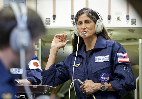 Sunita Williams takes part in a training session at the Star City space centre outside Moscow