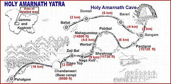 The Amarnath route map