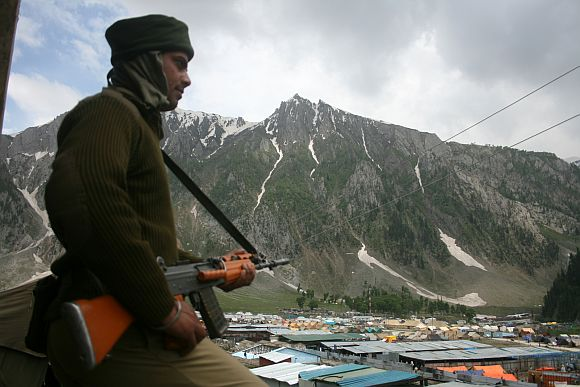 Paramilitary personnel on guard at the Baltal base camp