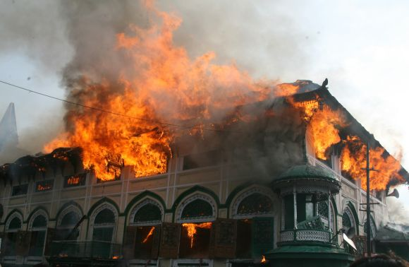 The Dastageer Sahib shrine on fire