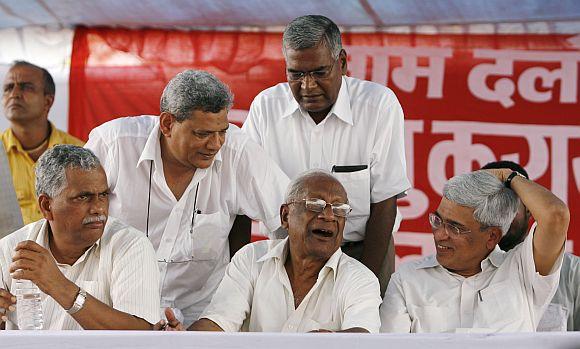 Senior Communist leaders Debabrata Biswas, Sitaram Yechury, A B Bardhan, D Raja and Prakash Karat during a rally in New Delhi in July, 2008.