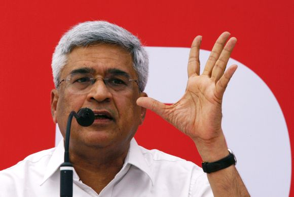 CPI-M general secretary Prakash Karat speaks during a news conference in New Delhi