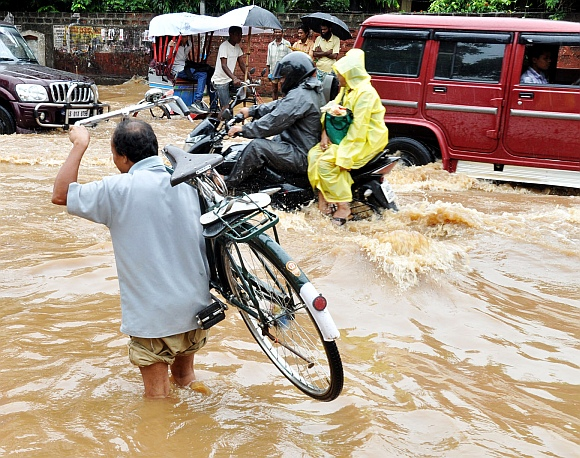 Most of the key roads in the city were inundated bringing vehicular movement to a grinding halt