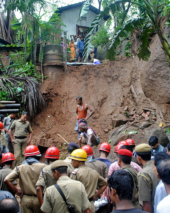 One person was killed due landslide triggered by the heavy rain at Shantipur hill side