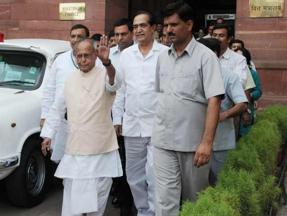 Pranab Mukherjee leaves for PM's house to submit his resignation as finance minister, in New Delhi on Tuesday