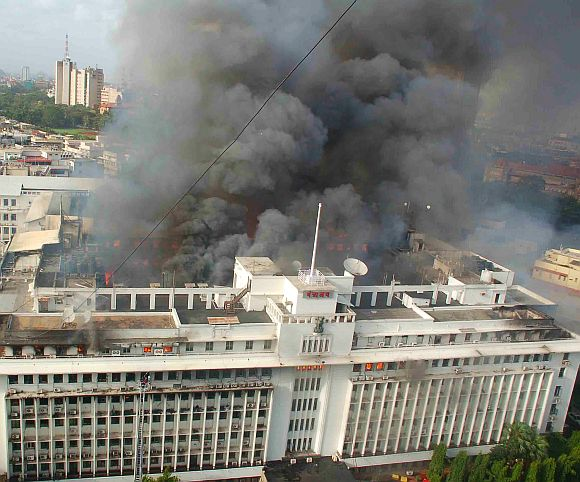 A huge billow of smoke can be seen emanating as major blaze engulfed the Mantralaya building in Mumbai on Thursday