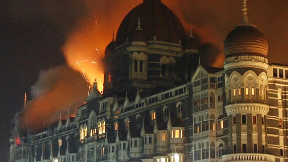 The burning Taj Mahal Hotel during the 26/11 attacks in Mumbai