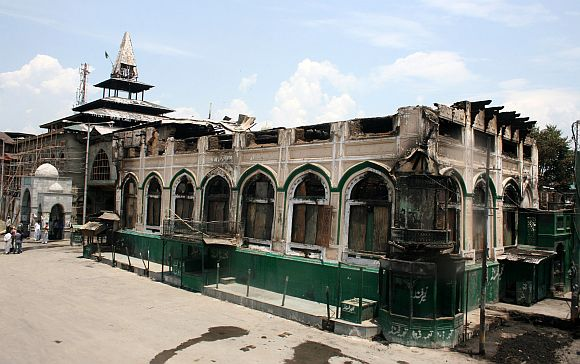 The 200 years-old shrine in Srinagar was gutted in a major fire on Monday