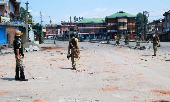 Security personnel keep a strict vigil in old city parts of Srinagar on Wednesday