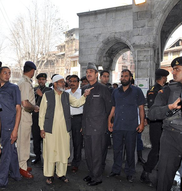 Union minister Ghulam Nadi Azad visits the shrine on Wednesday