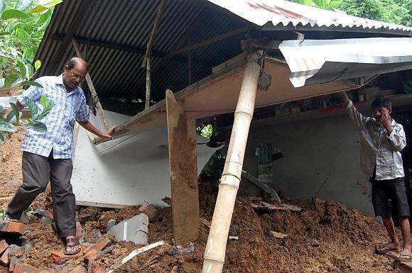The shattered house after the landslide