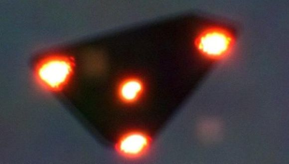 A supposed black triangle, on June 15, 1990, seen over Wallonia, Belgium, claimed to have been taken during the UFO wave.