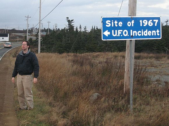 Highway sign identifying the incident location at Shag Harbour