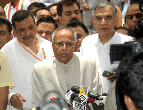 Pranab Mukherjee addressing the media after filing the nomination papers for the Presidential Election, in New Delhi