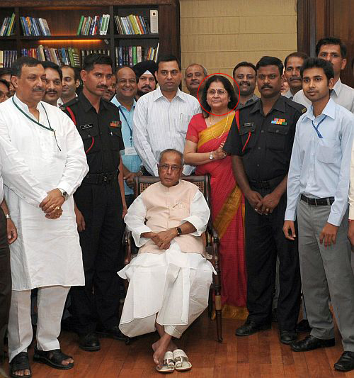 Pranab Mukherjee with his finance ministry team on his last day in office. (Circled) Omita Paul