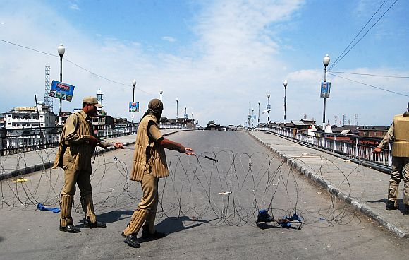 Because of the restrictions, the movement of vehicular traffic in the uptown areas of Srinagar was skeletal