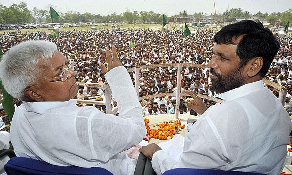 Ram Vilas Paswan with Lalu Yadav