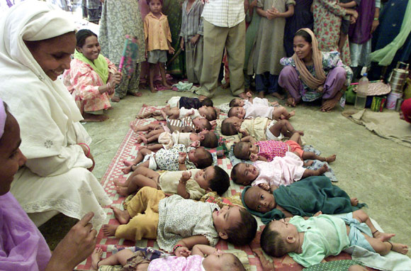 New-born babies at a relief camp