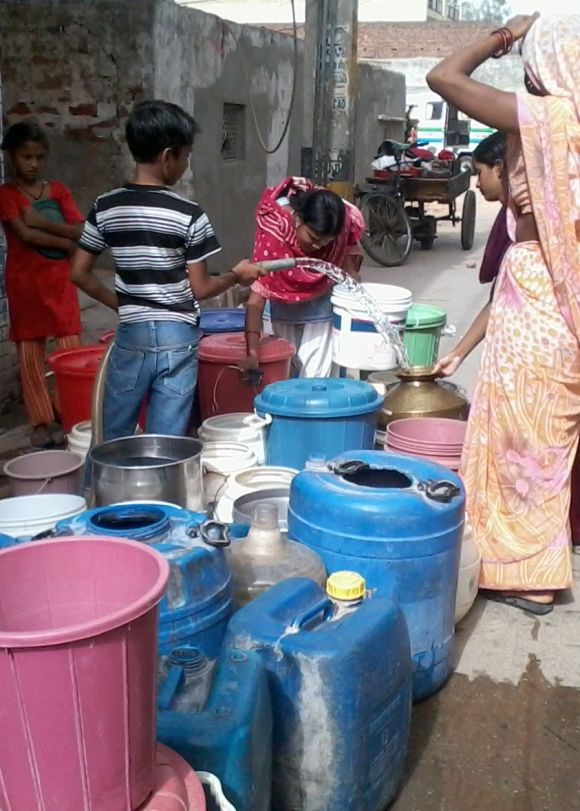 Residents in several places have to wait in queues awaiting their turn to fill water