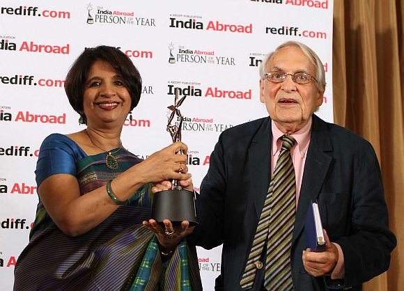Indian Ambassador to United States Nirupama Rao with Professor Lloyd Rudolph