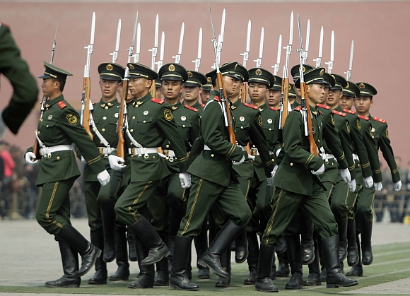 People's Liberation Army troopers at Tiananmen Square, Beijing