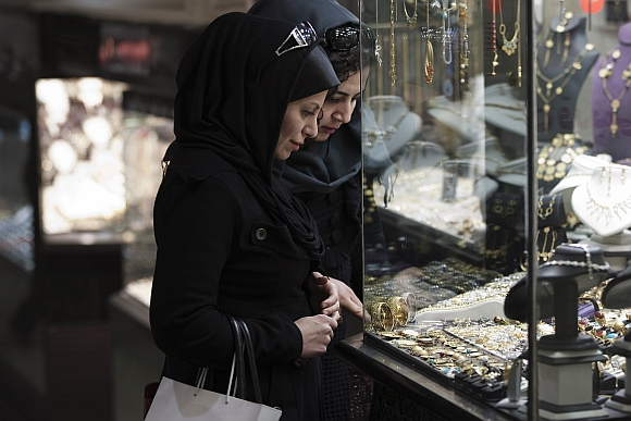 Women at a Tehran, Iran, shop