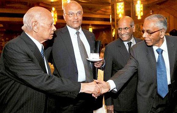 (From L-R) Former NSA Brajesh Mishra, NSA Shivshankar Menon, former foreign secretary Shayam Saran, former NSA M K Narayanan