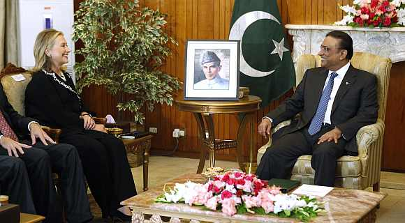US Secretary of State Hillary Clinton  meets with Pakistan's President Asif Ali Zardari in Islamabad last October