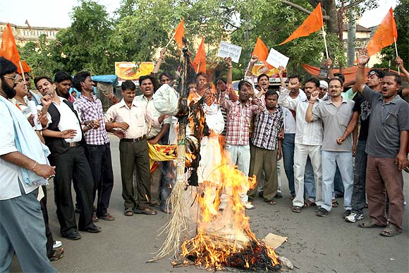 The file photograph of a protest by VHP