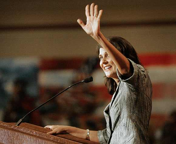 South Carolina's Governor Nikki Haley waves to supporters