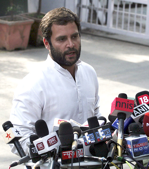 Rahul Gandhi talks to the media after the UP poll debacle