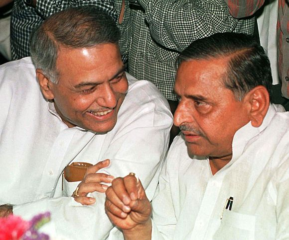 File image of former Finance Minister Yashwant Sinha with Mulayam Singh Yadav, shot in 1999.
