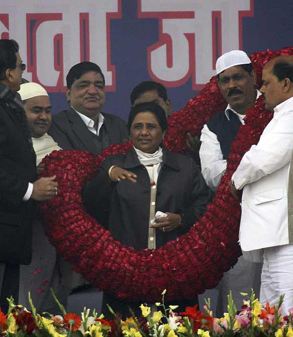 BSP leader and UP Chief Minister Mayawati during an election rally in Lucknow