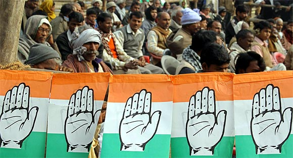 Supporters of the Congress party at an election rally addressed by Rahul Gandhi