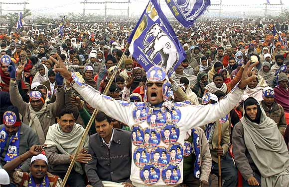 A supporter of Mayawati during an election rally