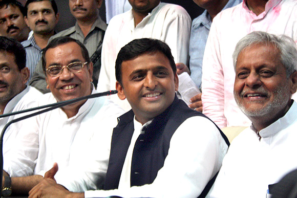Leaders of Samajwadi Party celebrate their victory in Lucknow