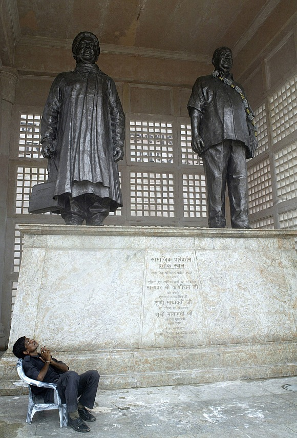 Bronze statues of Mayawati and Kanshi Ram, founder of the Bahujan Samaj Party, in Lucknow