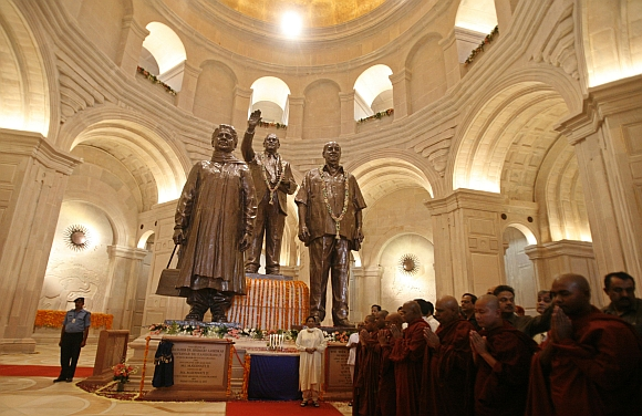 Mayawati with the statues of Dalit icons Dr B R Ambedkar, centre, Kanshi Ram, left, and of herself after inaugurating the Rashtriya Dalit Prerna Sthal park in Noida