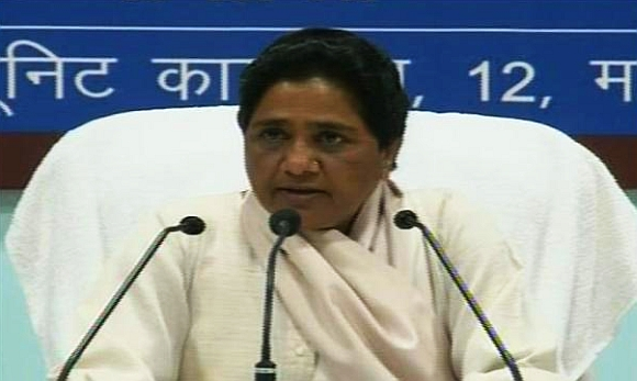 Mayawati at the press conference