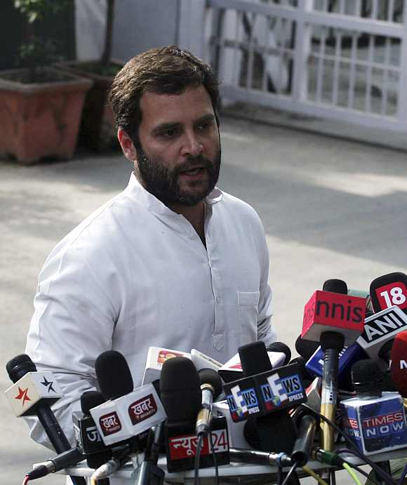 Rahul Gandhi addresses the media on March 6 after the poll debacle