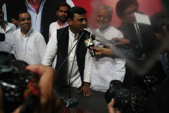The Samajwadi Party's Akhilesh Yadav talks to the media after the Uttar Pradesh win