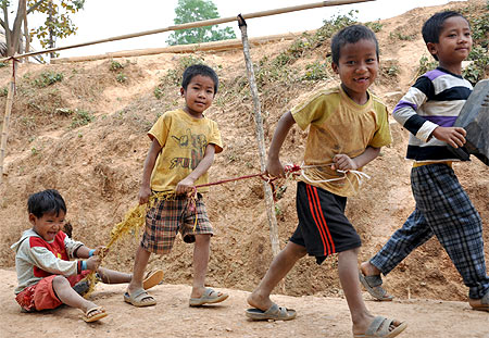 Children displaced from their homes by the conflict, at a settlement in Moreh, Chandel district, Manipur