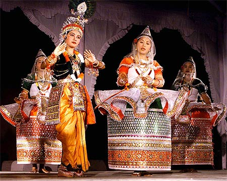 The traditional Manipuri dance, Maha-Raas, celebrates the divine love between Lord Krishna and Radha