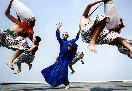 Padma Shri Astad Deboo, a noted Indian contemporary dancer, performs with the Pung Cholom dancers of Manipur