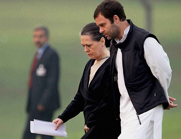 Rahul Gandhi with mother Sonia Gandhi, the Congress president